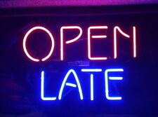 "Open Late Neon Sign 17""x14"" Pub Beer Light Decor Gift Christmas"