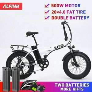 500W 40KM Electric Bicycle 20inch 4.0 Fat Tire ebike 80KM W/ 2 Batteries & Gifts