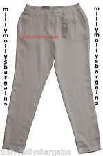 New Womens Marks & Spencer White Linen Chino Trousers Size 20 Leg 29 LABEL FAULT