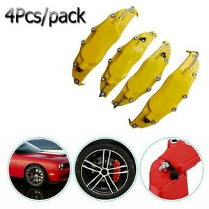 4Pcs Yellow Car Caliper Covers Universal Parts Front & Rear Disc Brake 3D Kits
