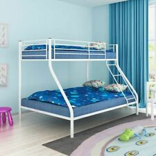 vidaXL Children's Bunk Bed Metal White Kids Twin Sleeper Sleeping Cot Crib