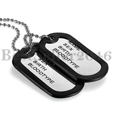 2 Military Dog Tags Pendant Army Style Ball Chain Mens Necklace w Silencers