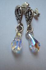 Sterling & Bali Pendientes De Plata Hecho con Cristales de Swarovski Gota Cristal AB NUEVO