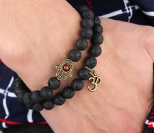 Men's Lava Rock Hamsa Beaded Bracelet Lucky Yoga Energy Wrist Mala OM Bracelets
