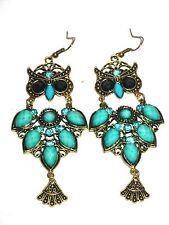 "OWL Chandelier Earrings 3 1/2"" Antique Gold Tone TURQUOISE Beads,Rhinestones"