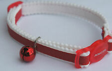 REFLECTIVE CAT COLLAR ANCOL SNAP BUCKLE RED ADJUSTABLE SAFE CAT COLLAR WITH BELL