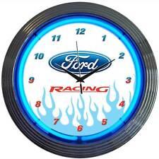 Ford Racing Oval neon clock sign garage wall lamp Man cave Mechanic shop light
