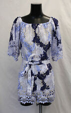 L'atiste By Amy Women's Aura Crochet Detailed Romper HD3 Blue/White Medium NWT