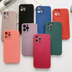 For iPhone 12 Pro Max 11 XS XR 8 7 Plus SE2 Solid Color Silicone Soft Case Cover