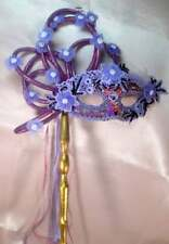"HANDMADE ""ONE OF A KIND"" PURPLE ORIGINAL MASQUERADE  MARDI GRAS WITH HANDLE"