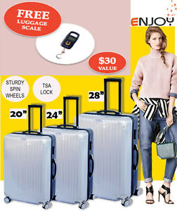 ENJOY 3 Piece Fashionable Lightweight Hard Suitcase / Luggage Set - Blue+Silver
