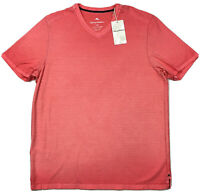 Tommy Bahama Cirrus Coast V-Neck S/S Shirt L Large Mandalay Red Stretch New $74+