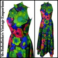 Size 8 10 VTG Maxi Dress 1970s Bold Floral Satin Gown High Turtle Neck Vera Mont