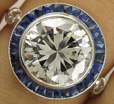 3.11CT VINTAGE ROUND DIAMOND SAPPHIRE STERLING SILVER ENGAGEMENT WEDDING RING