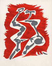 "1973 MASSON ORIGINAL Color Lithograph ""Seduction in Red Gray & White"" Framed COA"