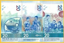 Hong Kong 20 Dollars p-new 2019 SET 3 BANKS UNC Banknotes