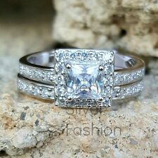 .925 Sterling Silver Wedding set size 11 CZ Engagement Ring Bridal Ladies New 57