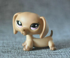 Rare Littlest Pet Shop Dachshund Dog Puppy Tan with Pink Star Eyes #932