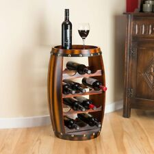 Wooden Barrel Shaped Wine Rack 14 Bottle Holder Oak Effect Table Top Christow