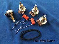 Upgrade Guitar Wiring Kit for Gibson Les Paul 500K Long Pots Orange Drop Caps