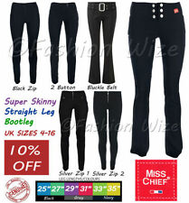 Polyester Straight Leg Jeans for Women