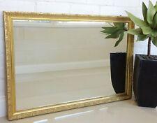 Original Vintage Ornate Gold Wall Hanging Rectangle Mirror - 365