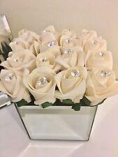 Stunning Champagne Cream Rose Bud & Crystals Flower Arrangement In Mirror Cube