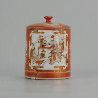 Antique 19C Japanese Kutani Jar Marked on Base Figures Garden