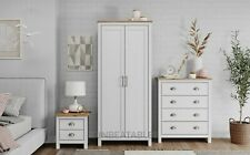 Solid Wood Wardrobe Chest of Drawers Bedside Table Trio Set Bedroom Furniture