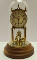 Vintage KUNDO Germany Brass & Glass Dome 400 Day Wooden Base Anniversary Clock