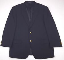Alan Flusser Blue Blazer 48R Mens Sz Navy Wool 2 Button Gold Tone Metal Buttons