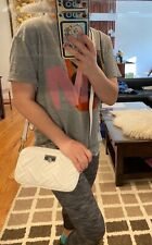 MICHAEL KORS PEYTON SMALL CAMERA CROSSBODY QUILTED LEATHER BAG OPTIC WHITE$368
