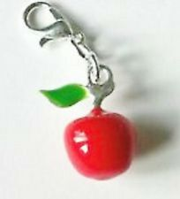 SILVER & RED APPLE  CLIP ON CHARM FOR BRACELETS- LOOK AT MY EBAY SHOP- NEW