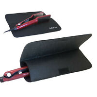 Black Travel Heat Proof Mat + Pouch for GHD Hair Straighteners + all makes