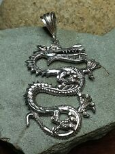 "Large 15g 3"" Lucky Fire Breathing Dragon PENDANT Biker No Scrap Sterling silver"