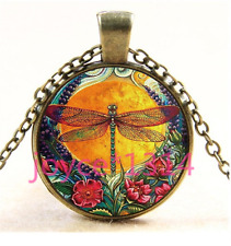 Vintage Dragonfly Cabochon bronze Glass Chain Pendant Necklace TS-4497