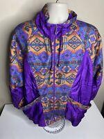 Vintage 90s Full Zip Aztec Tribal Windbreaker Jacket Men's Size XL Purple