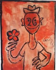 Cuban Art. Painting by Juan David. Dibujo No. 1,1979. Excellent condition.Signed