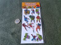 LOTE DE 12 ANTIGUAS PEGATINAS CON RELIEVE SUPER HEROES ORIGINALES DE 1981 MARVEL