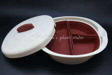 NEW Tupperware Beige & Maroon Legacy bowl With 3 Dividers Serving Set !!