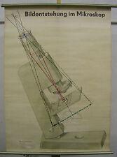 Schulwandbild Tableau Mural Microscope Bildentstehung Lentille Prisma Rayons