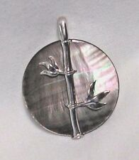 STERLING SILVER BAMBOO ON BLACK LIP SHELL PENDANT 36mm NEW BEAUTY