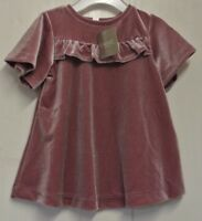 New Next girls velour dress Dusky Pink 2-3 years