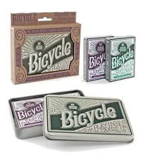 Bicycle Retro Tin Playing Card Gift Set Collectors Tin with 1 Green & 1 Purple