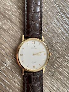 Omega DeVille Gold Watch Alligator Band 7300.33.01