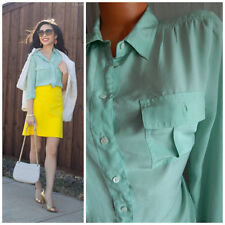 J CREW 12 Large 100% SILK Blythe Blouse TUNIC Shirt MINT GREEN Classy CAREER   v