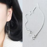 Damen Ohrringe Durchzieher Spirale Welle echt Sterling Silber 925 Ohrhänger