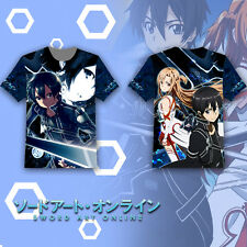 Otaku Sword Art Online Kirito&Asuna T-shirt Tee Tops Summer Short Sleeve Modal