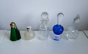 5 vintage small coloured and clear perfume glass bottles