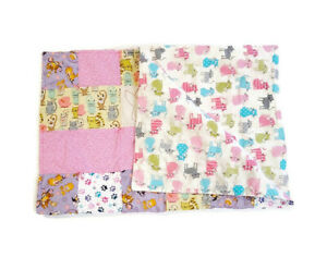 Handmade Baby Quilt Blanket Reversible Unique Multicolor Cat Kitten Paw Print